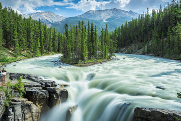 Beautiful view to Sunwapta falls in Jasper National Park, Alberta, Canada.