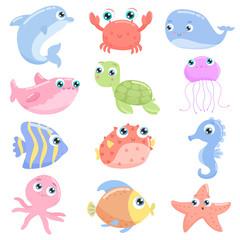 Cute sea animals. Flat design.
