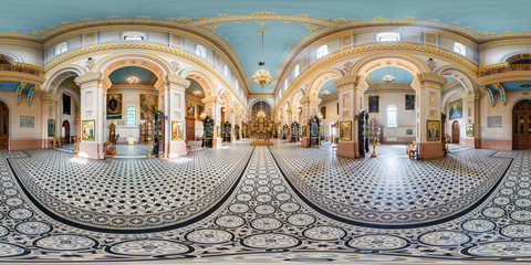 full seamless panorama 360 by 180 angle view in interior of luxury orthodox church in  equirectangular projection, skybox VR content