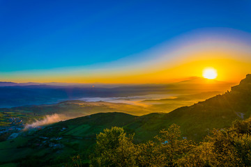 Sunrise view of a valley near Enna in the central Sicily, Italy