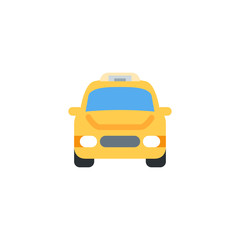 Oncoming Taxi. Taxi automobile car front side vector illustration flat icon symbol cartoon style emoji