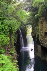 雨の高千穂峡(真名井の滝)