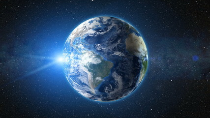 Sunrise view from space on Planet Earth. South America zone. World in black Universe in stars. High detailed 3D Render animation. Realistic world globe. Elements of this image furnished by NASA