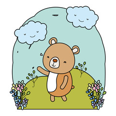 color cute bear animal in the landscape with clouds
