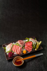 お刺身 sashimi (raw sliced fish, shellfish or crustaceans)
