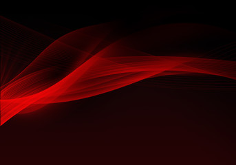 Abstract black background with dynamic red lines and space for your text