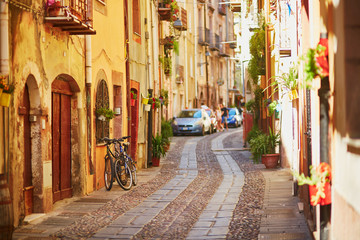 Colorful houses on a street of Bosa, Sardinia, Italy