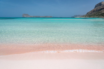 Pink sand on Balos beach and Gramvousa island near Kissamos in Crete, Greece