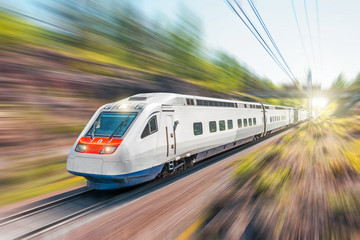 High-speed electric train with motion blur. The railway passes in a rocky canyon in the forest.
