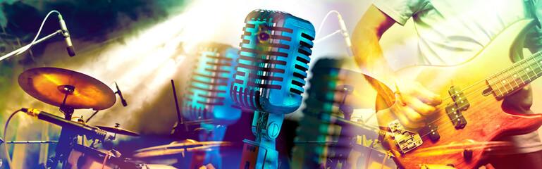 Diseño de música y conciertos.Entretenimiento y festival de música.Batería y guitarra en el escenario.Microfono vintage.