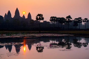 Breathtaking sunrise in antient old Angkor Wat Temple in Cambodia