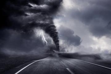 A large storm producing a Tornado, causing destruction. 3D Illustration.