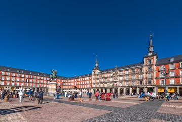 MADRID, SPAIN - SEPTEMBER 26, 2017: The Bulding of the Plaza Mayor with statue of King Philips III. Copy space for text.