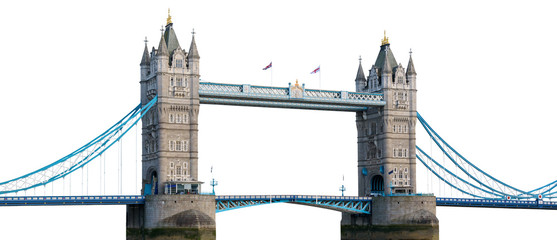 Tower Bridge in London isolated on white background