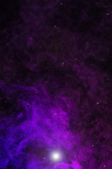 beautiful universe background with violet smoke, stars and glowing light