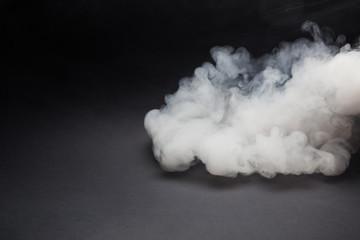 Cloud of white smoke on a black background closeup