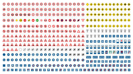 Largest set of international road signs on white