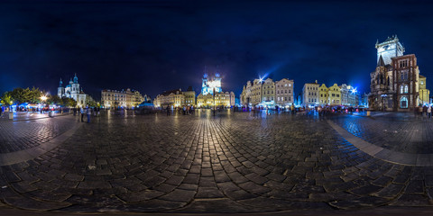 Old Town Square at evening at Prague. Autumn. 3D spherical panorama with 360 viewing angle. Ready for virtual reality. Full equirectangular projection.