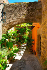 Beautiful alley in Rhodes Town, Mediterranean Sea, Rhodes Island, Greece