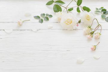 róże na białym tle drewnianych