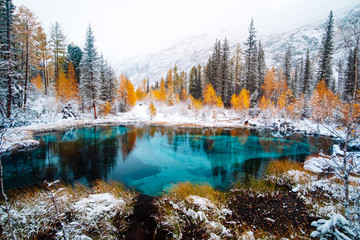Fantastic blue geyser lake in the autumn forest. Altai, Russia.