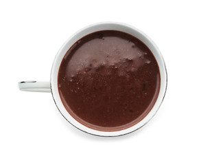 Cup of hot chocolate on white background, top view