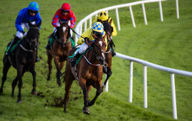 Galloping race horses and jockeys racing around the corner of the track