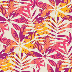 Cool vivid bright color tropical leaves seamless pattern