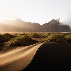 Incredible view of the famous Stokksnes mountains on Vestrahorn cape, Iceland