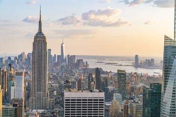 new york skyline in the evening.