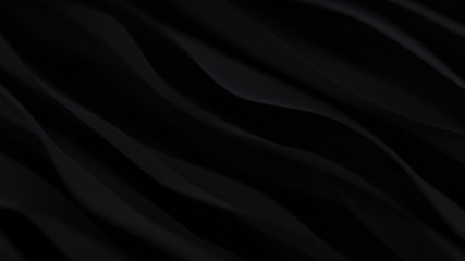 Abstract black wave background. Dark organic smooth line.