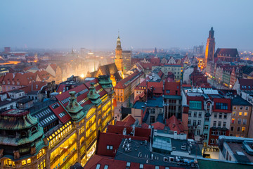 Night view of Wroclaw. Wroclaw is the largest city in western Poland and historical capital of Silesia