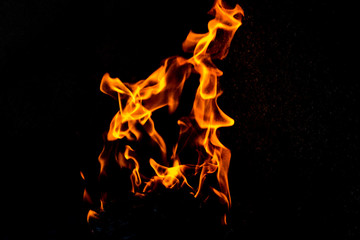 fire motion in black background
