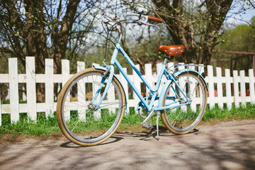 Transport for summer. Rent a bicycle. Blue vintage bicycle stands in the park among the trees in the sun