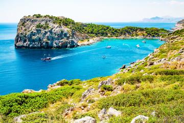The beautiful Anthony Quinn Bay on Rhodes Island, Mediterranean Sea, Greece