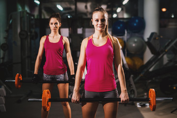 Two gorgeous girls in pink tank tops are holding weights in a gym with dimmed light.
