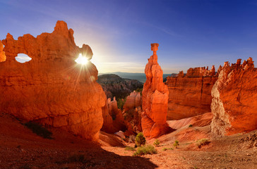 Thor's hammer in Bryce Canyon National Park in Utah USA at sunrise.