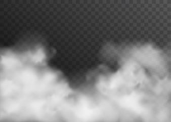 Wektor realistyczny dym, mgła lub mgła przezroczysty efekt na białym tle na ciemnym tle