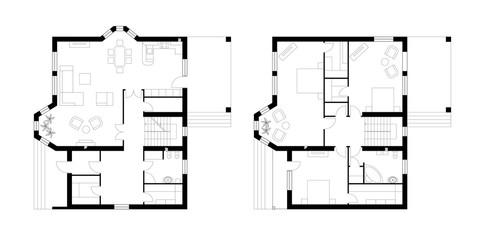 Architectural plan of a two-storey manor house with a terrace. The layout of an individual two-storey house with three bedrooms, kitchen, living room, two bathrooms, dressing rooms and pantries.