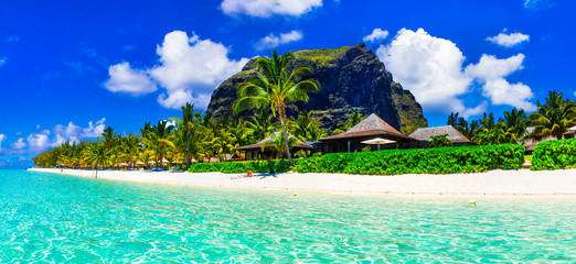 Gorgeous white sandy beaches and turquoise waters of Mauritius island - tropical paradise