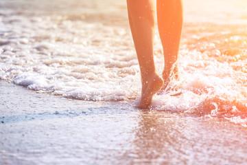 close up leg on the summer beach