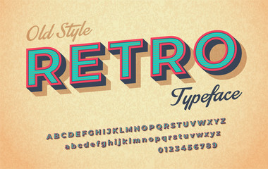 Colorful italic retro font and alphabet 80s, 90s.
