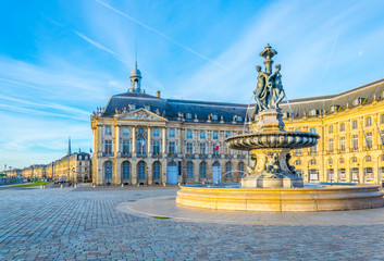 View of Place de la Bourse in Bordeaux, France