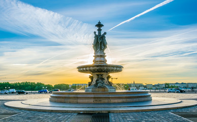 Fountain on Place de la Bourse in Bordeaux, France