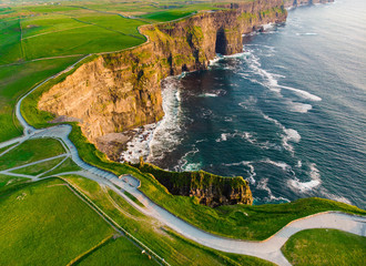 World famous Cliffs of Moher, one of the most popular tourist destinations in Ireland.