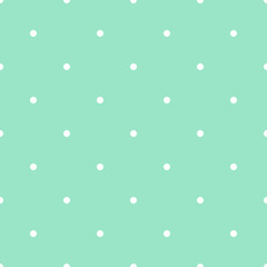 Vector seamless dotted pattern in green mint and white colors