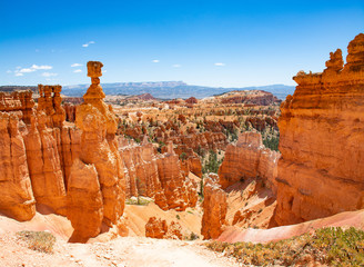 Beautiful mountain landscape. Famous Thor's Hammer hoodoo. Bryce Canyon National Park, Utah, USA