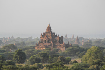 Beautiful sunset and landscape view of Bagan from Shwesandaw Pagoda, Bagan, Myanmar