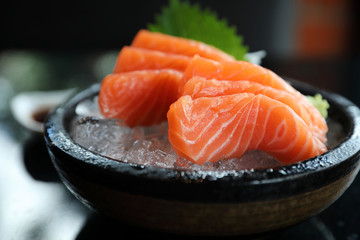 Salmon sashimi on ice Japanese food