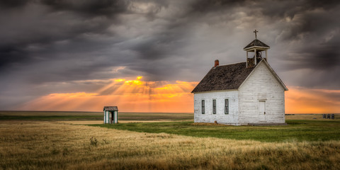 Old Abandoned Church at Sunset